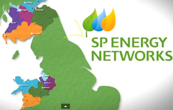 SP Energy Network logo + map of coverage areas including north-mid Wales