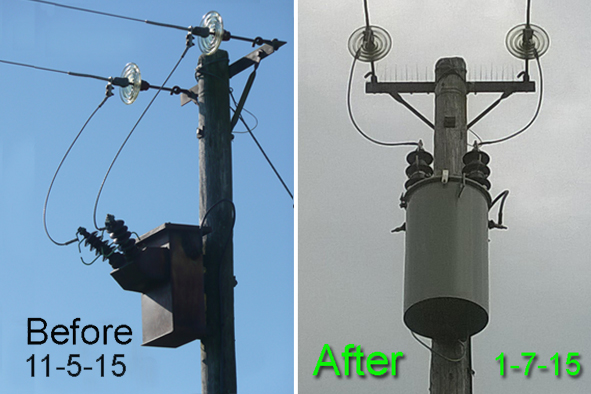 PowerPole before and after retrofitting