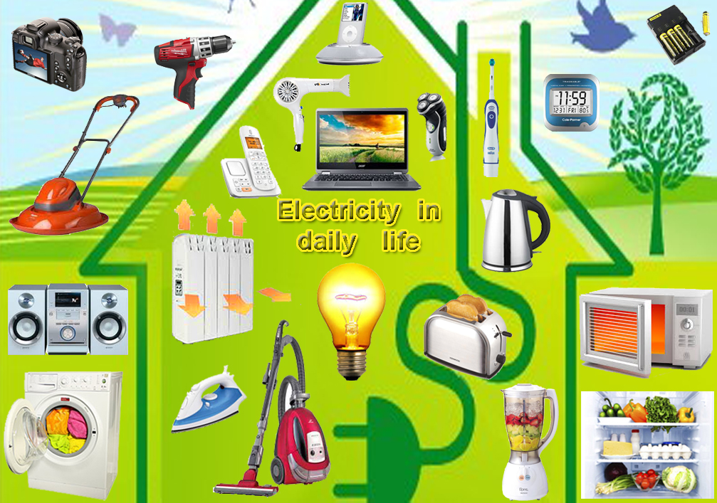 compilation image showing many different types of things which run off electricity in the home